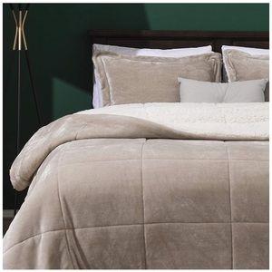 Micromink Sherpa Comforter Set 3 Reversible-Sand